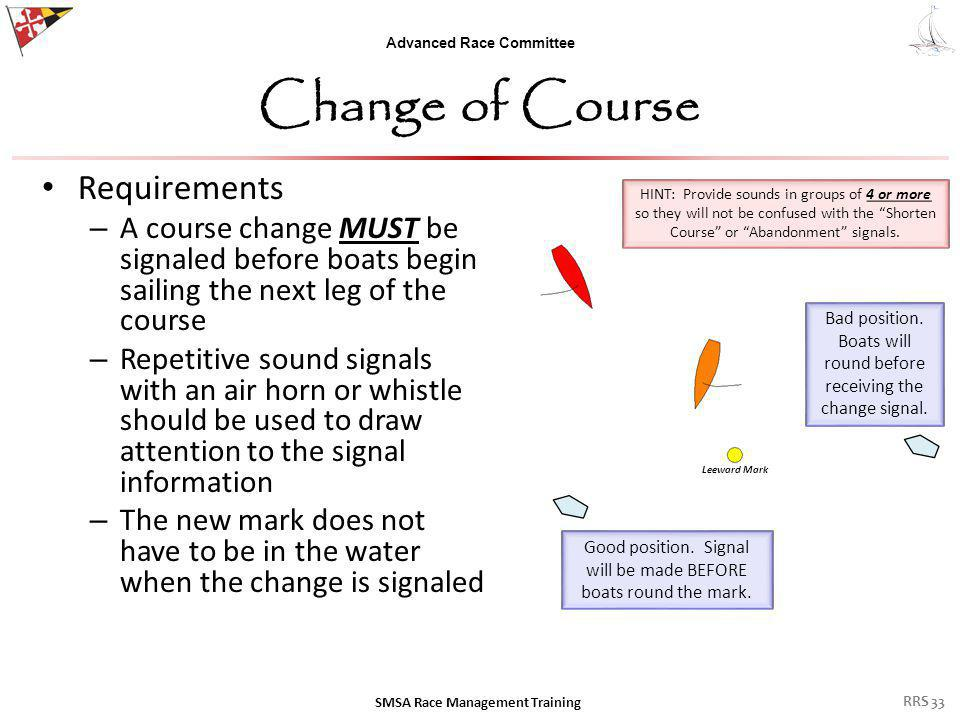 Advanced Race Committee Change of Course Requirements – A course change MUST be signaled before boats begin sailing the next leg of the course – Repetitive sound signals with an air horn or whistle should be used to draw attention to the signal information – The new mark does not have to be in the water when the change is signaled SMSA Race Management Training Good position.