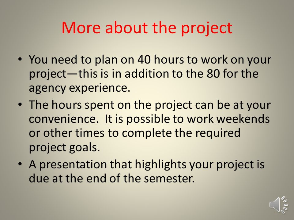 Okay…what about the project.