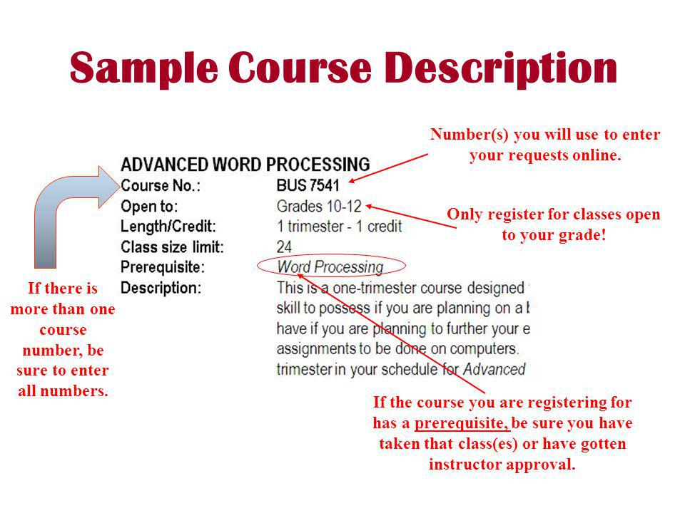 Sample Course Description Number(s) you will use to enter your requests online. Only register for classes open to your grade! If the course you are re