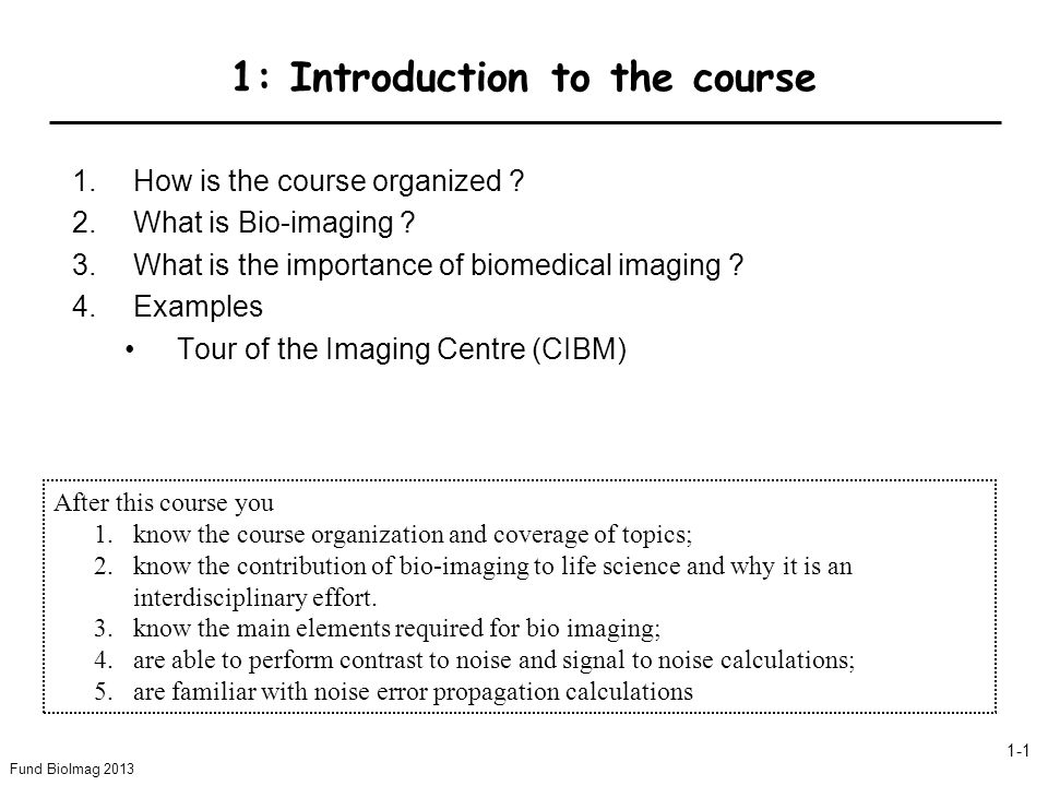 Fund BioImag 2013 1-1 1: Introduction to the course 1.How is the course organized ? 2.What is Bio-imaging ? 3.What is the importance of biomedical ima