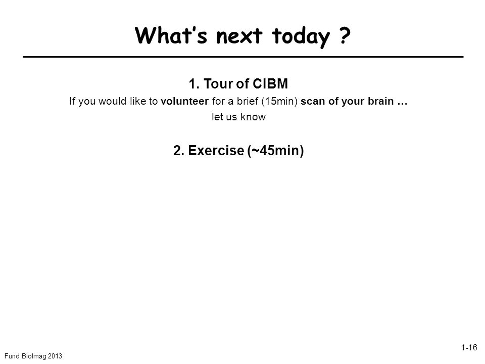 Whats next today ? Fund BioImag 2013 1-16 1. Tour of CIBM If you would like to volunteer for a brief (15min) scan of your brain … let us know 2. Exerc