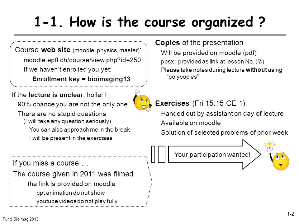 Fund BioImag 2013 1-2 1-1. How is the course organized ? Exercises (Fri 15:15 CE 1): Handed out by assistant on day of lecture Available on moodle Sol