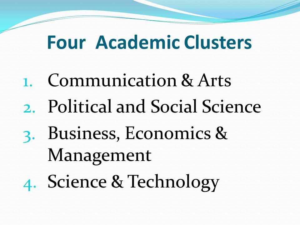 1. Communication & Arts 2. Political and Social Science 3. Business, Economics & Management 4. Science & Technology Four Academic Clusters
