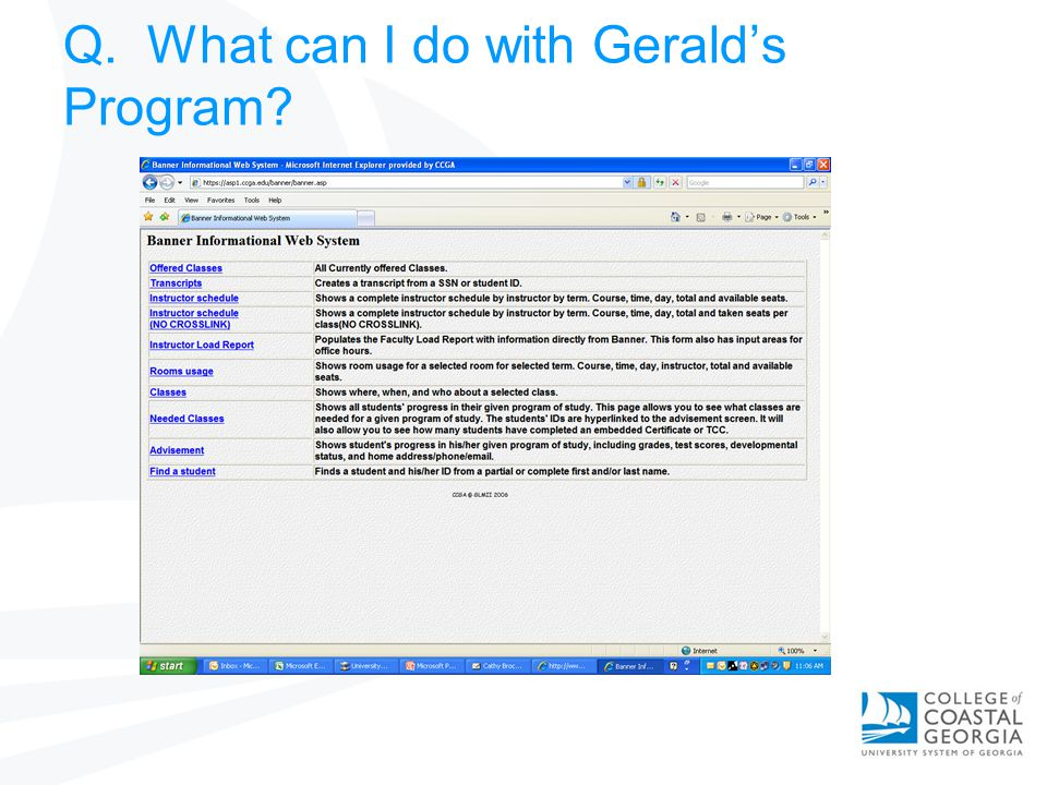 Q. What can I do with Geralds Program?