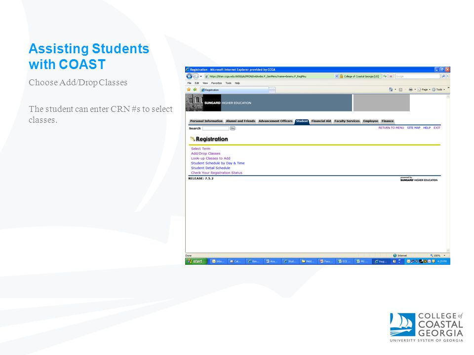 Assisting Students with COAST Choose Add/Drop Classes The student can enter CRN #s to select classes.
