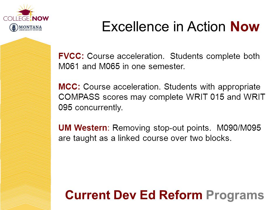 Current Dev Ed Reform Programs Excellence in Action Now FVCC: Course acceleration.