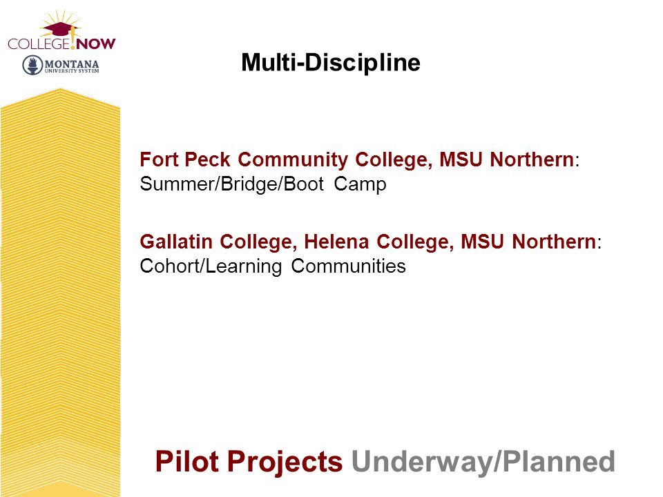 Fort Peck Community College, MSU Northern: Summer/Bridge/Boot Camp Gallatin College, Helena College, MSU Northern: Cohort/Learning Communities Multi-Discipline Pilot Projects Underway/Planned