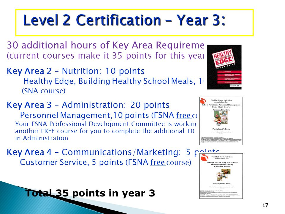17 30 additional hours of Key Area Requirements (current courses make it 35 points for this year) Key Area 2 – Nutrition: 10 points Healthy Edge, Building Healthy School Meals, 10 points (SNA course) Key Area 3 – Administration: 20 points P ersonnel Management,10 points (FSNA free course) Your FSNA Professional Development Committee is working on another FREE course for you to complete the additional 10 points in Administration Key Area 4 – Communications/Marketing: 5 points Customer Service, 5 points (FSNA free course) Level 2 Certification – Year 3 : Total 35 points in year 3