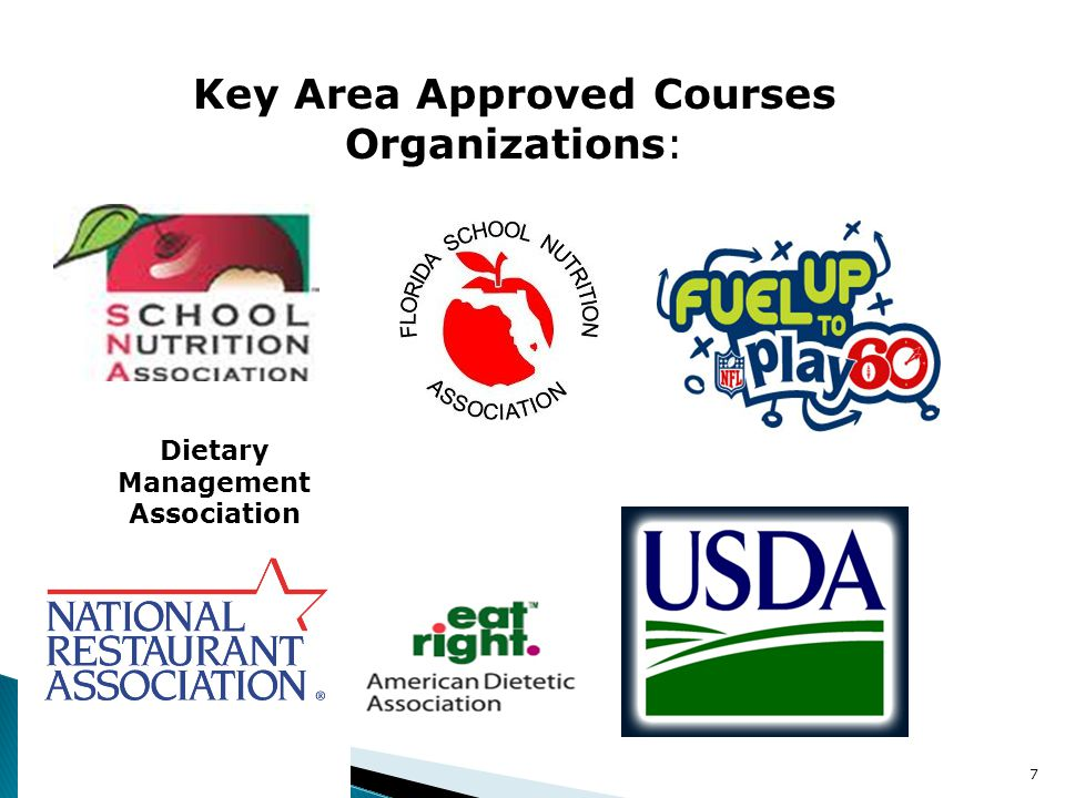 7 Key Area Approved Courses Organizations: Dietary Management Association