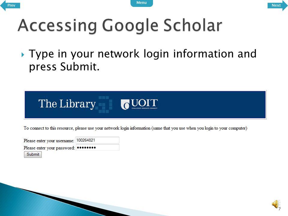 6 Click here Scroll down to Google Scholar PrevNext Menu