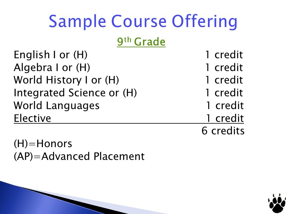 9 th Grade English I or (H) 1 credit Algebra I or (H) 1 credit World History I or (H) 1 credit Integrated Science or (H) 1 credit World Languages 1 cr