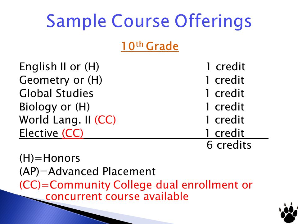 Sample Course Offerings 10 th Grade English II or (H) 1 credit Geometry or (H) 1 credit Global Studies 1 credit Biology or (H) 1 credit World Lang.