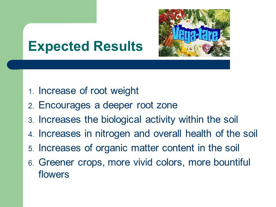 Expected Results 1. Increase of root weight 2. Encourages a deeper root zone 3.