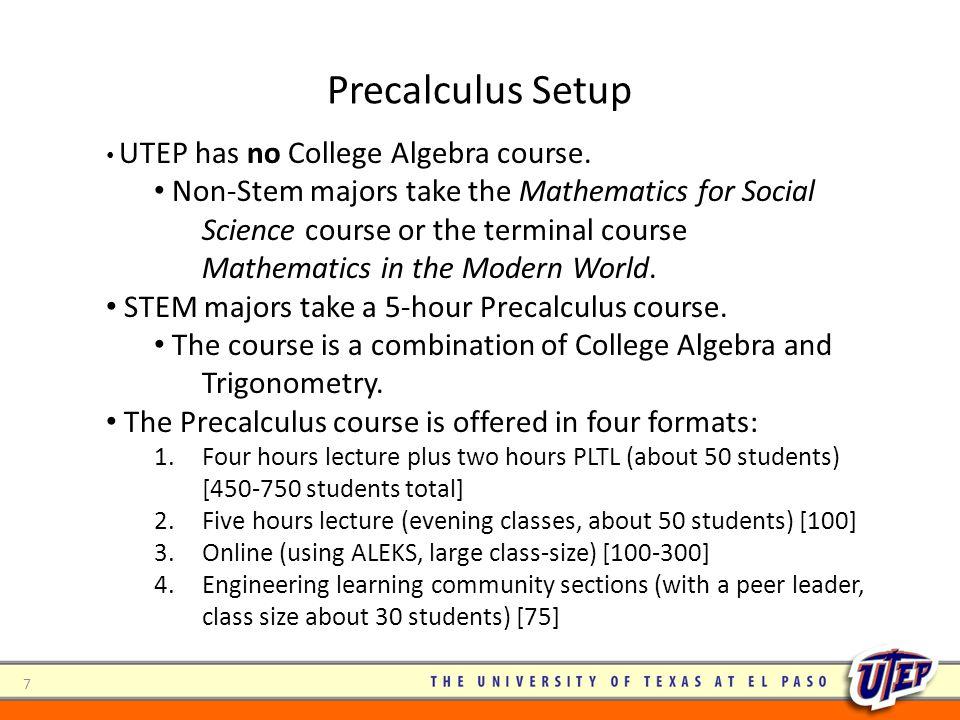 Precalculus Setup UTEP has no College Algebra course.