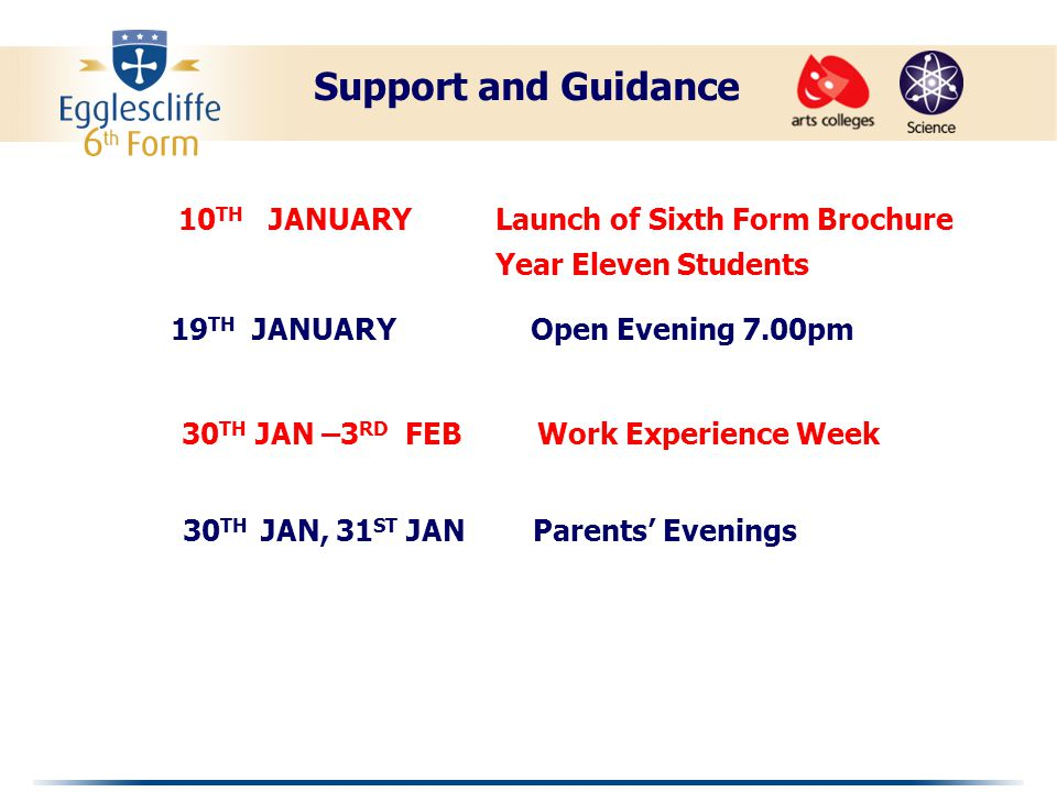 3 RD FEBRUARY Deadline for Preliminary Choice Forms 13 TH MARCH Consultations with Sixth Form Tutors Issue of Provisional Choice Form 14 TH MARCH Consultations with External Students Issue of Provisional Choice Form Support and Guidance