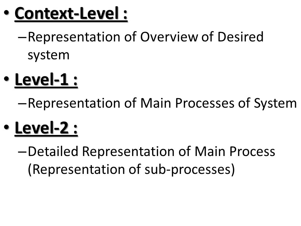 Context-Level : Context-Level : – Representation of Overview of Desired system Level-1 : Level-1 : – Representation of Main Processes of System Level-