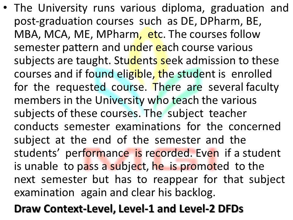 The University runs various diploma, graduation and post-graduation courses such as DE, DPharm, BE, MBA, MCA, ME, MPharm, etc. The courses follow seme