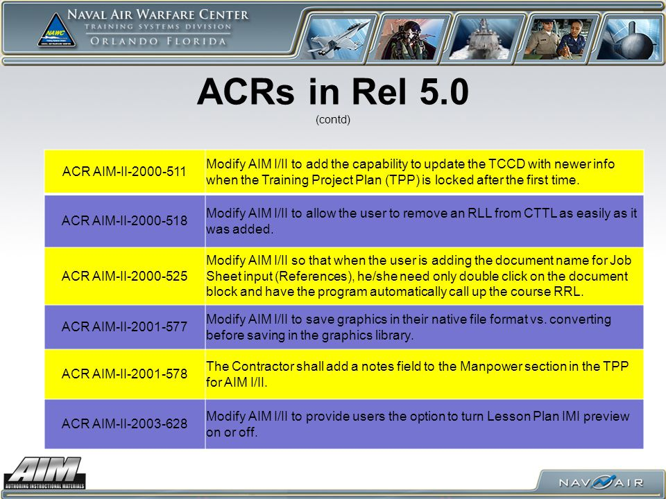 ACRs in Rel 5.0 (contd) ACR AIM-II-2000-511 Modify AIM I/II to add the capability to update the TCCD with newer info when the Training Project Plan (T