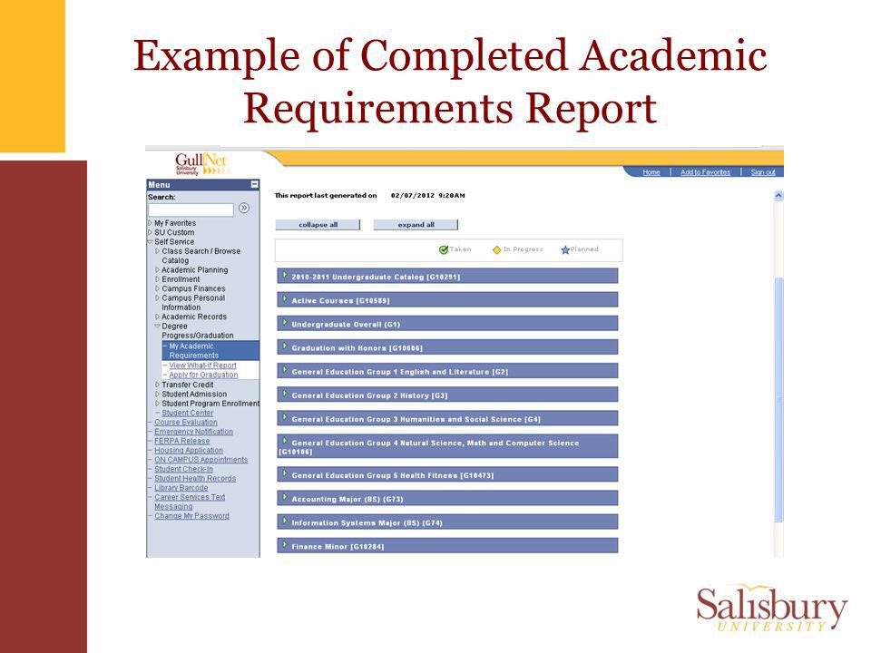 Example of Completed Academic Requirements Report