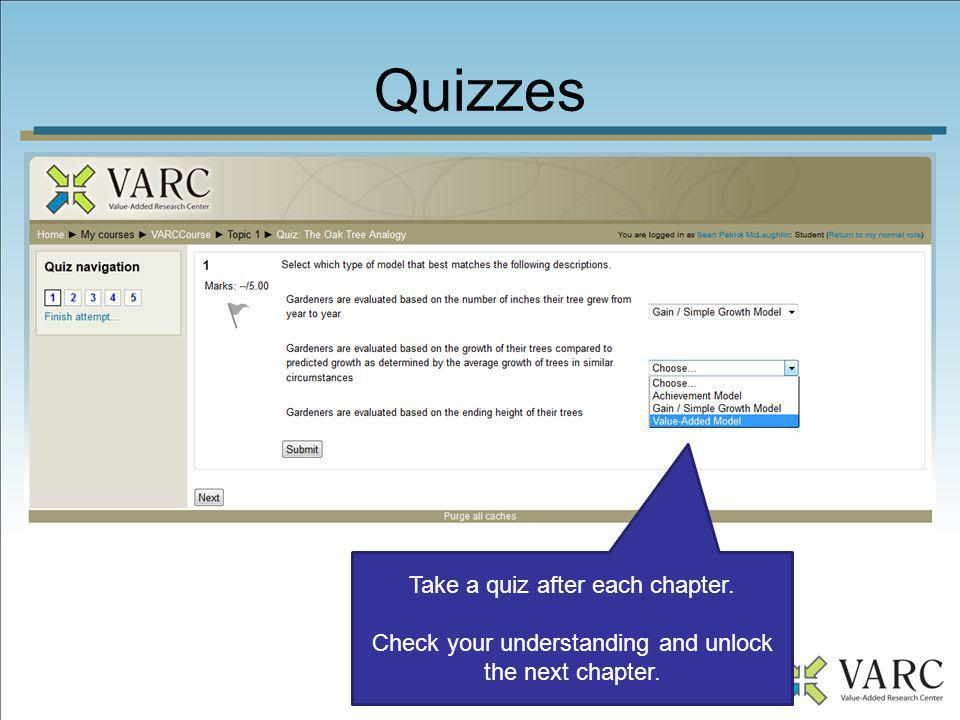 Quizzes Take a quiz after each chapter. Check your understanding and unlock the next chapter.