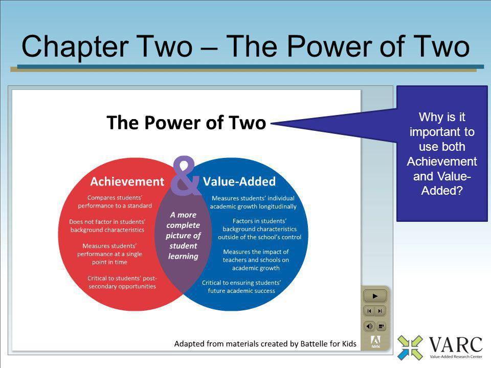 Chapter Two – The Power of Two When we look at both measures independently, what does it tell us about the situation of a school?