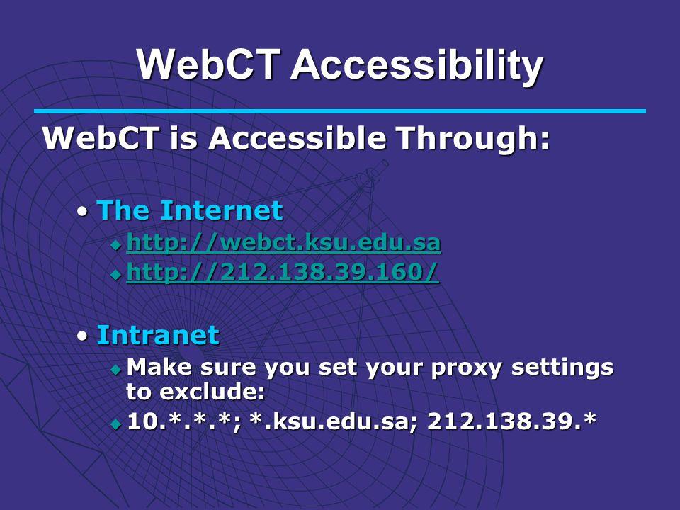 WebCT Accessibility WebCT is Accessible Through: The InternetThe Internet http://webct.ksu.edu.sa http://webct.ksu.edu.sa http://webct.ksu.edu.sa http