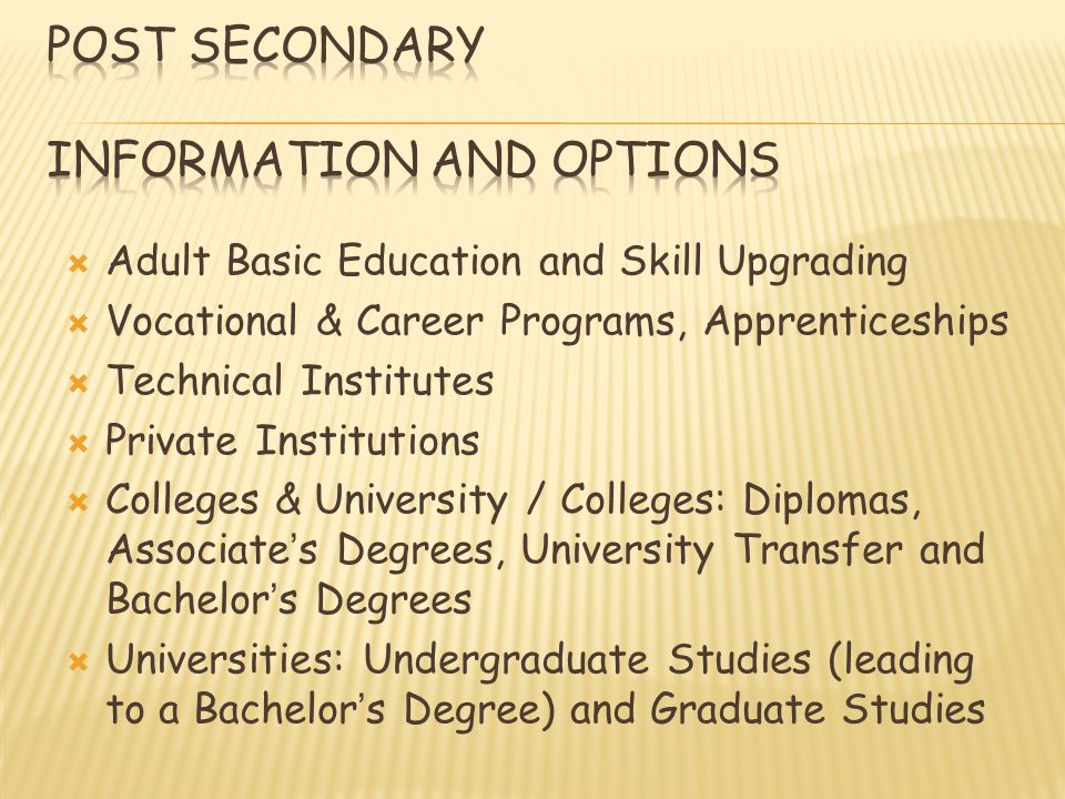 Adult Basic Education and Skill Upgrading Vocational & Career Programs, Apprenticeships Technical Institutes Private Institutions Colleges & University / Colleges: Diplomas, Associates Degrees, University Transfer and Bachelors Degrees Universities: Undergraduate Studies (leading to a Bachelors Degree) and Graduate Studies
