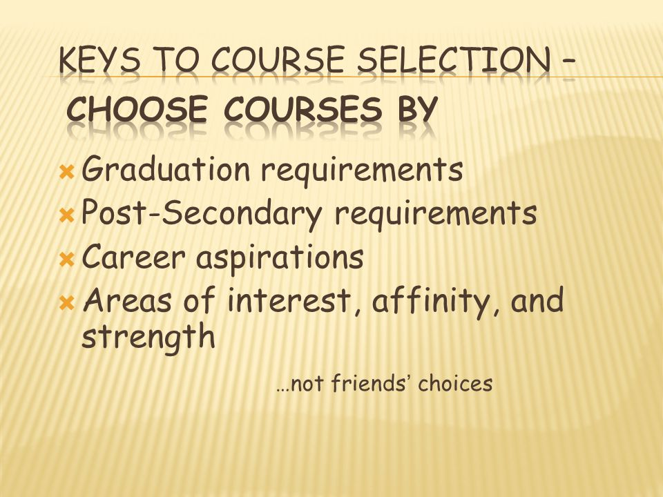 Graduation requirements Post-Secondary requirements Career aspirations Areas of interest, affinity, and strength …not friends choices