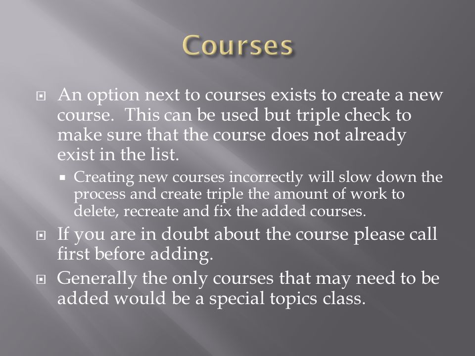 An option next to courses exists to create a new course.