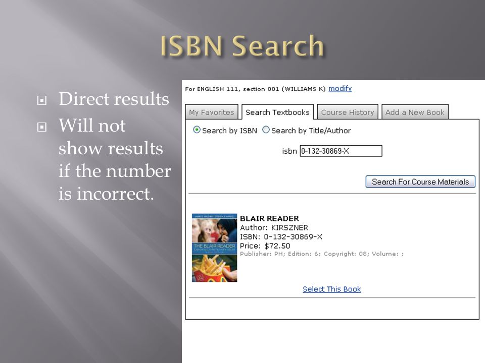 Direct results Will not show results if the number is incorrect.