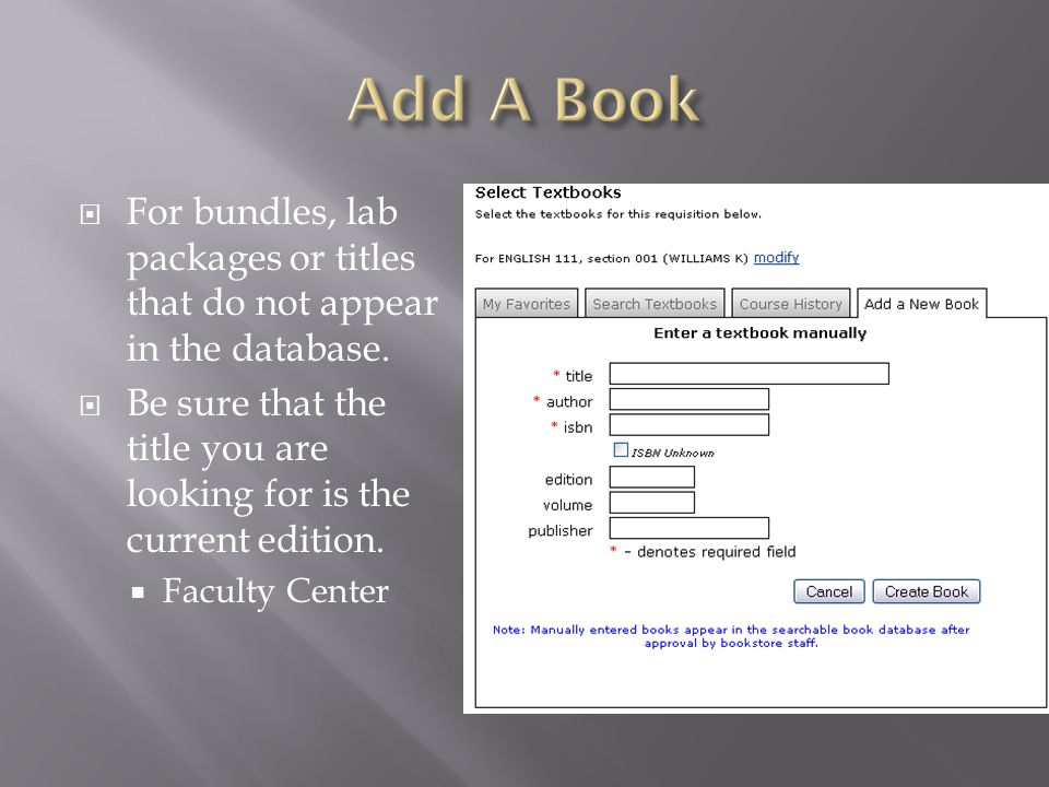 For bundles, lab packages or titles that do not appear in the database.