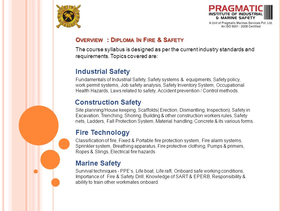 O VERVIEW : D IPLOMA I N F IRE & S AFETY The course syllabus is designed as per the current industry standards and requirements.