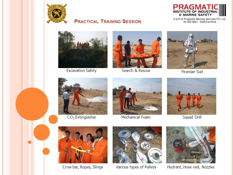 P RACTICAL T RAINING S ESSION Excavation SafetySearch & Rescue Fireman Suit CO 2 ExtinguisherMechanical FoamSquad Drill Crow bar, Ropes, SlingsVarious types of PulleysHydrant, Hose reel, Nozzles