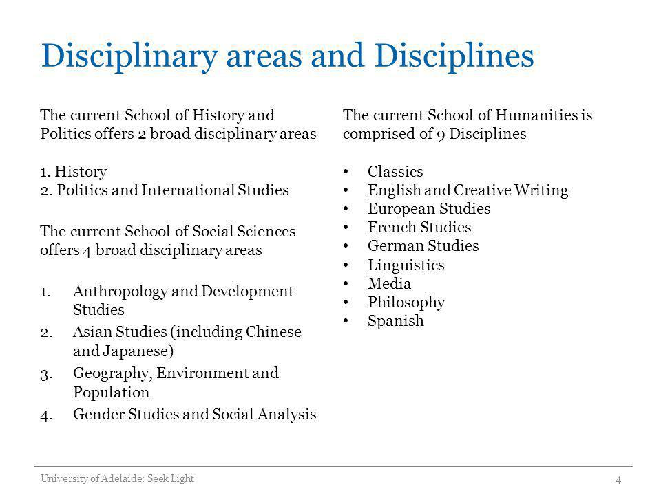 Disciplinary areas and Disciplines The current School of History and Politics offers 2 broad disciplinary areas 1. History 2. Politics and Internation