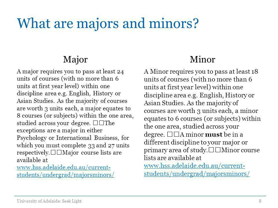 What are majors and minors? Major A major requires you to pass at least 24 units of courses (with no more than 6 units at first year level) within one