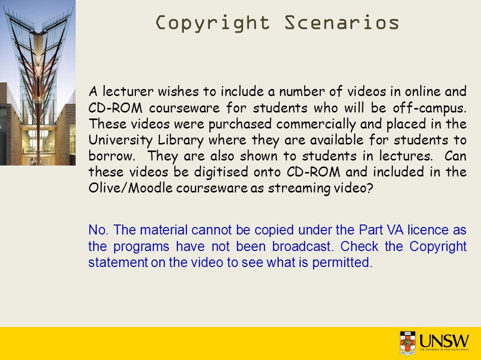 A lecturer wishes to include a number of videos in online and CD-ROM courseware for students who will be off-campus.