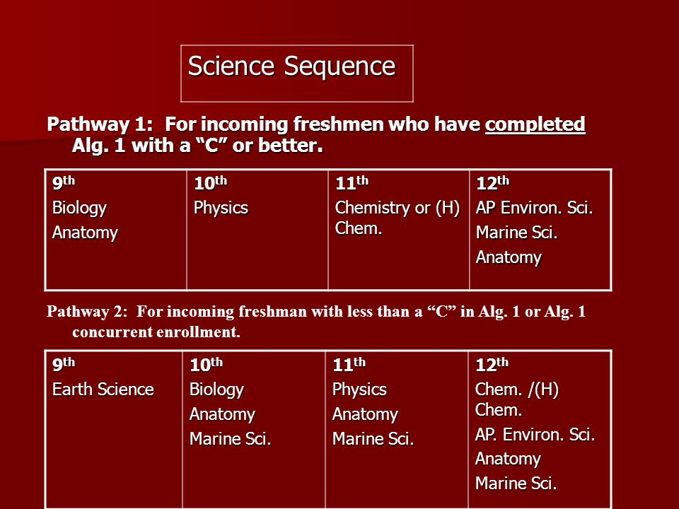 Pathway 1: For incoming freshmen who have completed Alg.