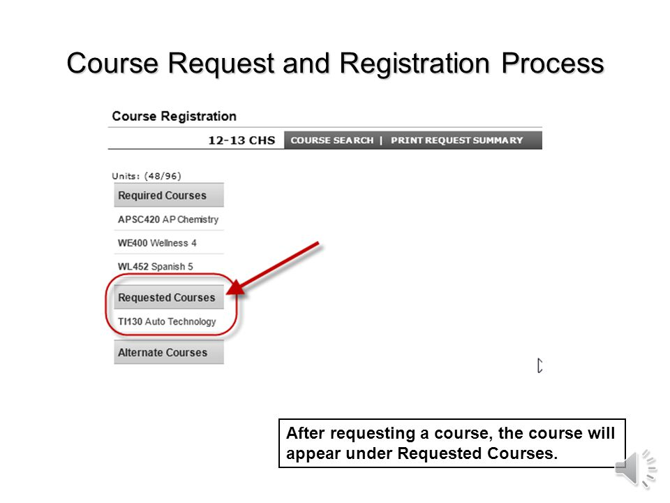 Course Request and Registration Process If you want to request this course, select Request this Course. If you decide you arent interested in this cou