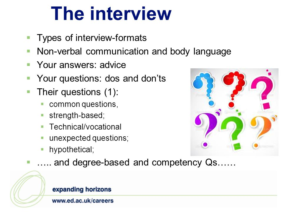 The interview Types of interview-formats Non-verbal communication and body language Your answers: advice Your questions: dos and donts Their questions