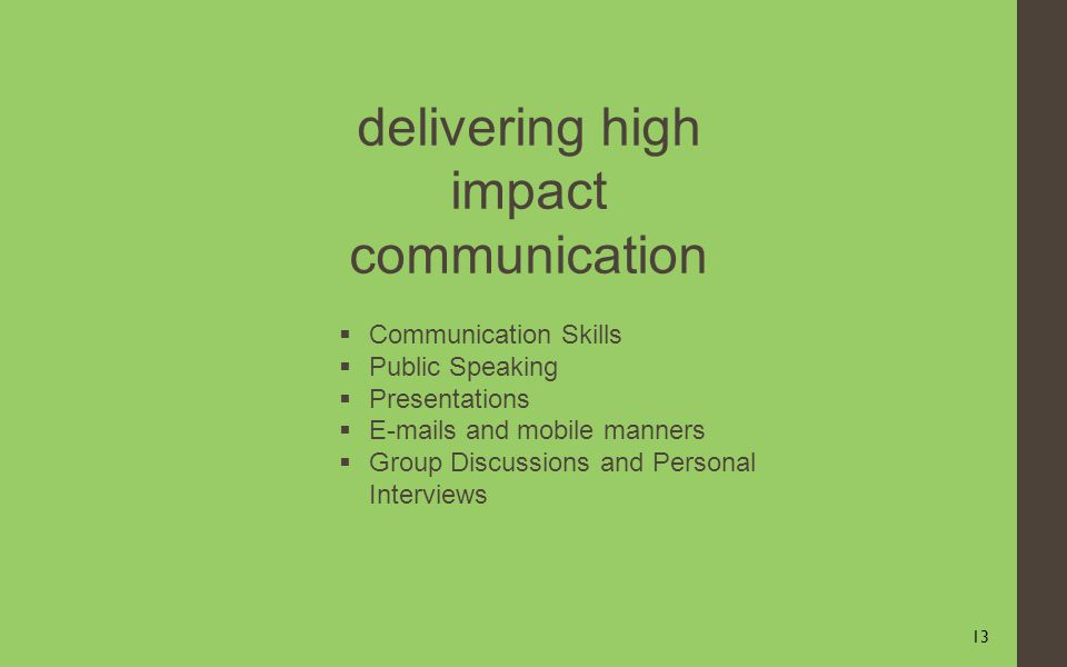 13 delivering high impact communication Communication Skills Public Speaking Presentations E-mails and mobile manners Group Discussions and Personal Interviews