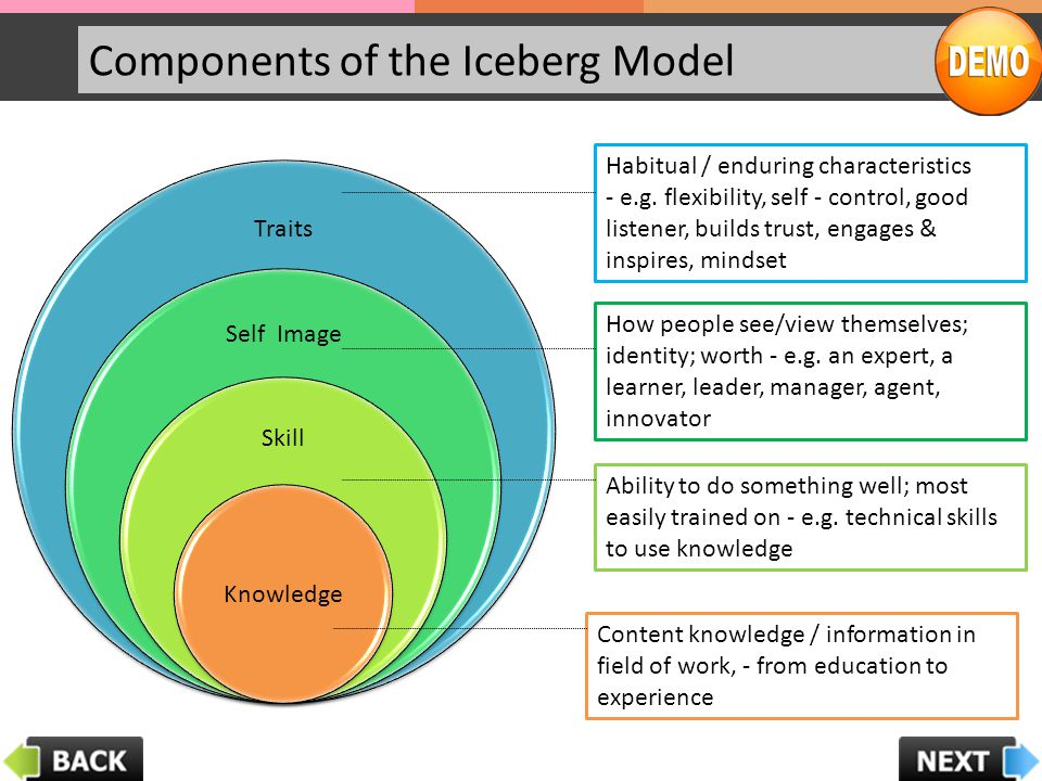 Components of the Iceberg Model Traits Self Image Skill Knowledge Content knowledge / information in field of work, - from education to experience Abi