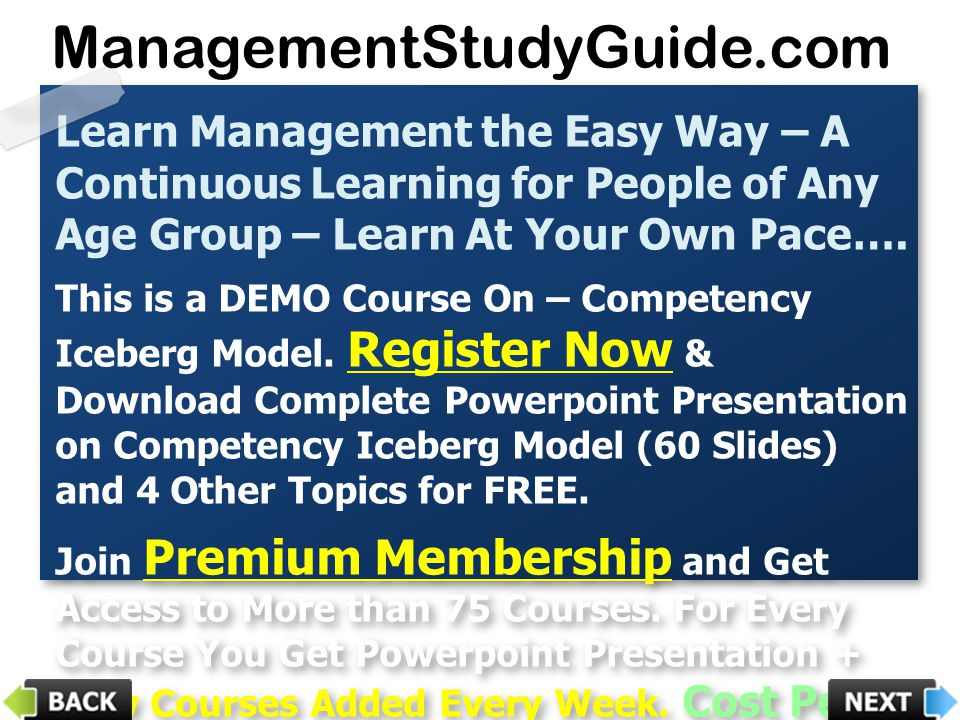 Learn Management the Easy Way – A Continuous Learning for People of Any Age Group – Learn At Your Own Pace…. This is a DEMO Course On – Competency Ice