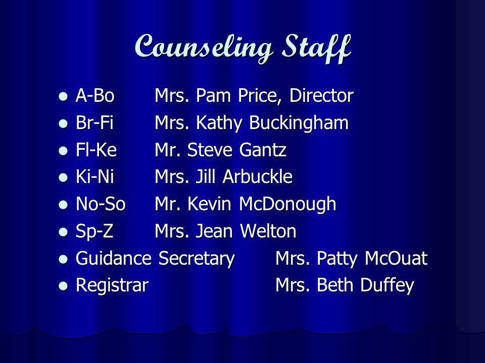 Counseling Staff A-BoMrs. Pam Price, Director A-BoMrs.