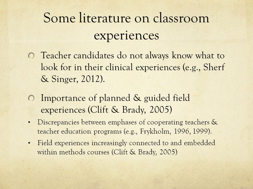 Shared Classroom Experiences Methods course pairs with local master teacher Entire methods course (5-10 teacher candidates + instructor) together observes 2-3 lessons in the master teachers classroom Semi-guided observation Lessons debriefed with master teacher Starts w/ master teacher, then moves to student questions