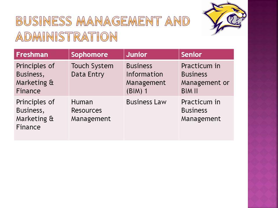 FreshmanSophomoreJuniorSenior Principles of Business, Marketing & Finance Touch System Data Entry Business Information Management (BIM) 1 Practicum in