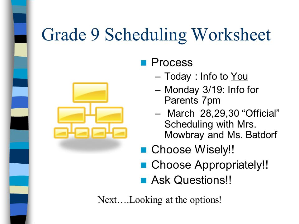 Grade 9 Scheduling Worksheet Process –Today : Info to You –Monday 3/19: Info for Parents 7pm – March 28,29,30 Official Scheduling with Mrs.