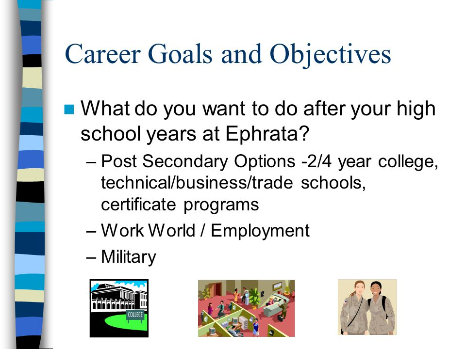 Career Goals and Objectives What do you want to do after your high school years at Ephrata.