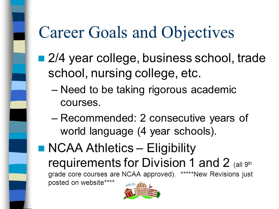 Career Goals and Objectives 2/4 year college, business school, trade school, nursing college, etc.