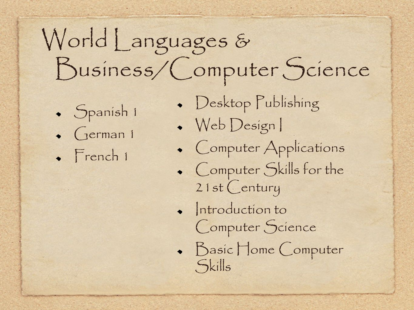World Languages & Business/Computer Science Spanish 1 German 1 French 1 Desktop Publishing Web Design I Computer Applications Computer Skills for the
