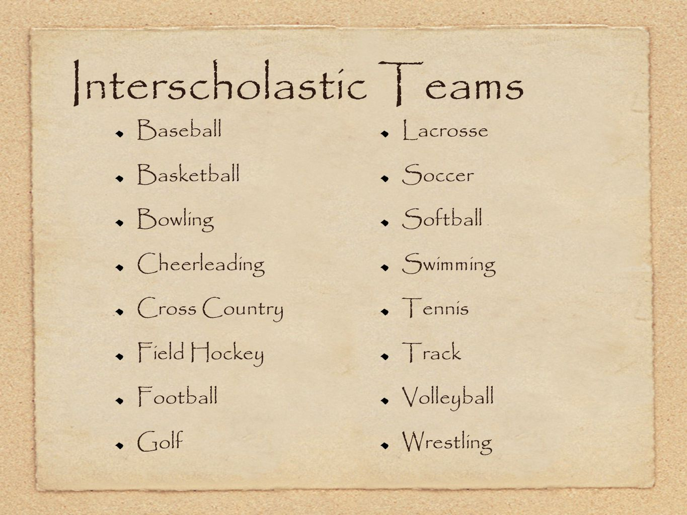 Interscholastic Teams Baseball Basketball Bowling Cheerleading Cross Country Field Hockey Football Golf Lacrosse Soccer Softball Swimming Tennis Track